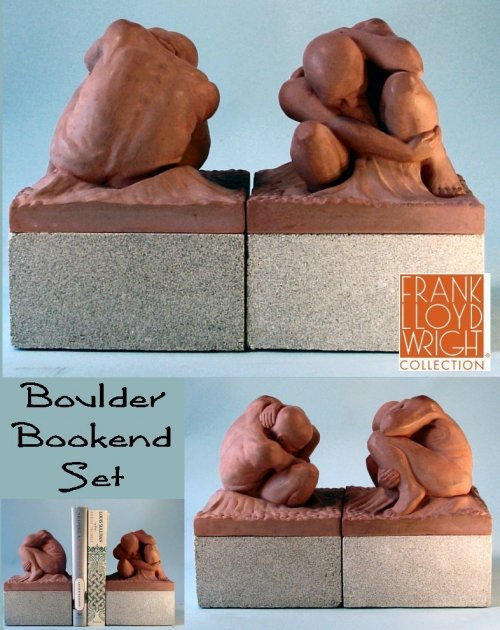 Boulder Bookend Statues Set by Frank Lloyd Wright