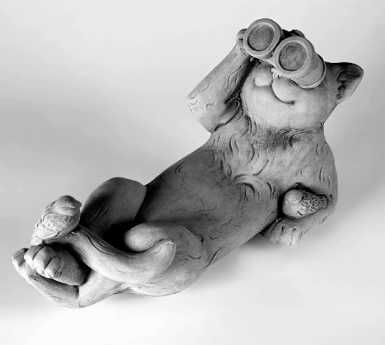 Reclining Bird Watching Cat Statue With Binoculars