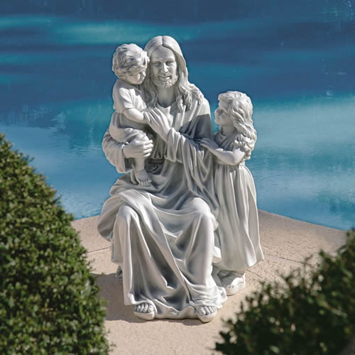Jesus With The Little Children Statue