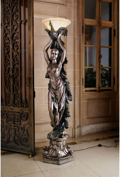 Peacock Goddess Torchiere Floor Lamp Sculpture