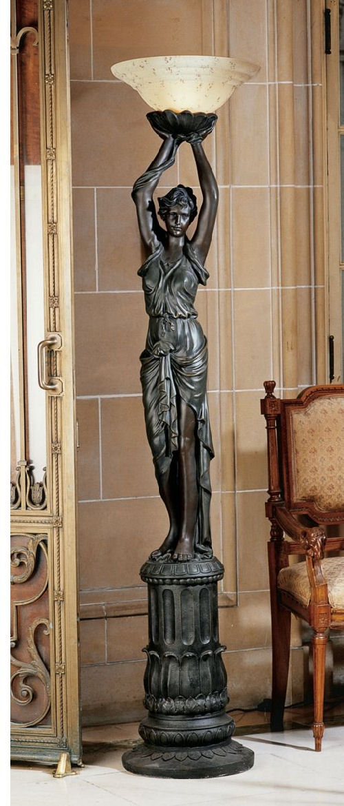 Empire Style Woman Torchiere Lamp Sculpture