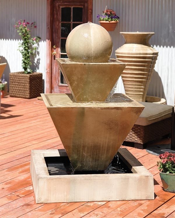 Double Oblique Recirculating Fountain With Ball