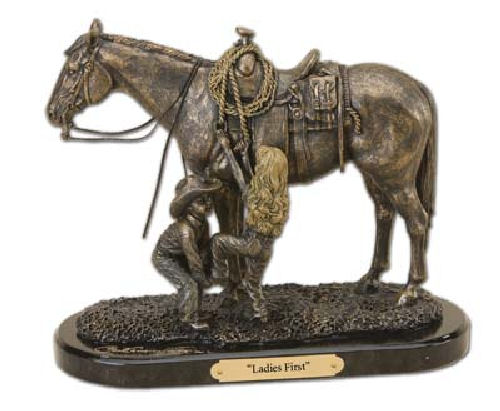 Ladies First Western Statue Children Cowboy