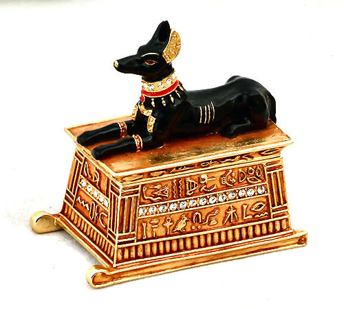 Anubis Jeweled Box Pewter Sculpture Statue