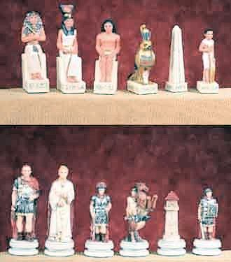 Chess Set  Egypt Vs. Rome Sculptural Pieces