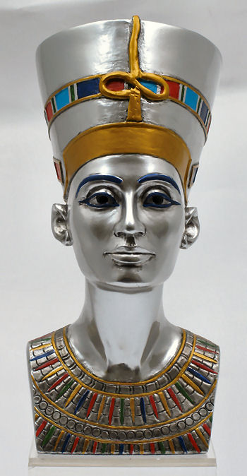 Queen Nefertiti Sculpture Bust Silver