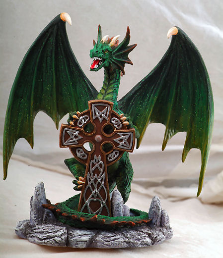 Celtic Dragon Holding Cross Sculpture