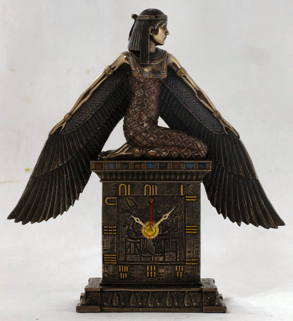 Egyptian Isis Clock Sculpture