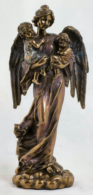 Angel With Children Stataue in Bronze Patina