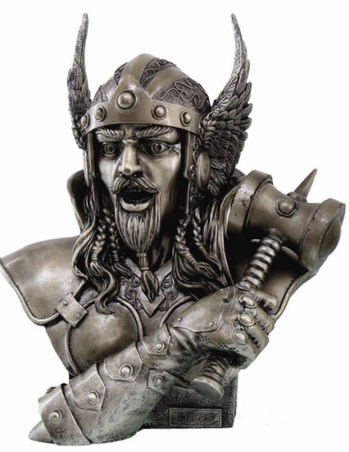 Bust of Viking Warrior Thor Statue with hammer