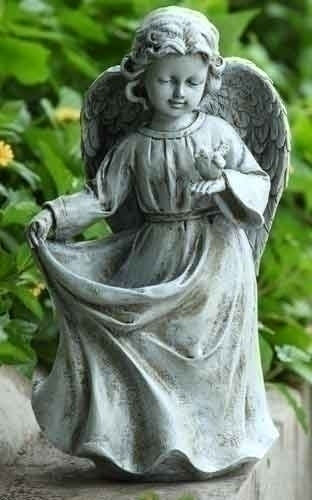 Angel Holding Dress Birdfeeder Garden Statue