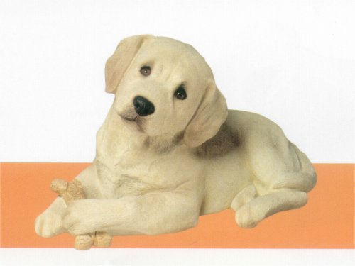 Labrador Retriever Yellow Puppy with Bone Statue
