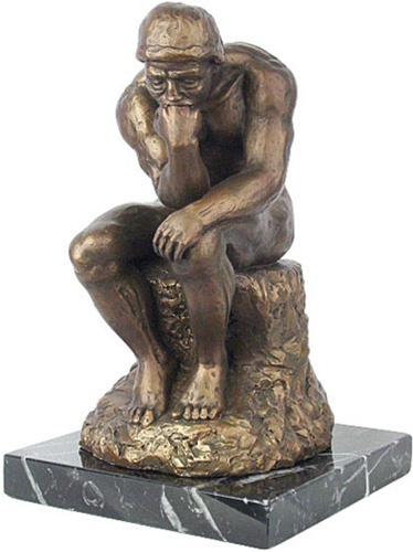 Reprodcution Thinker By Rodin Sculpture on Marble Base