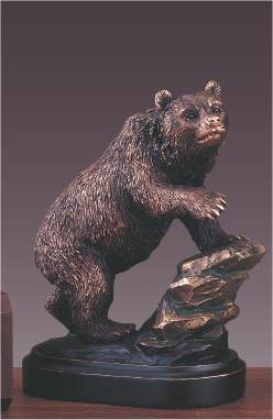 Bear On Rock Statue Sculpture