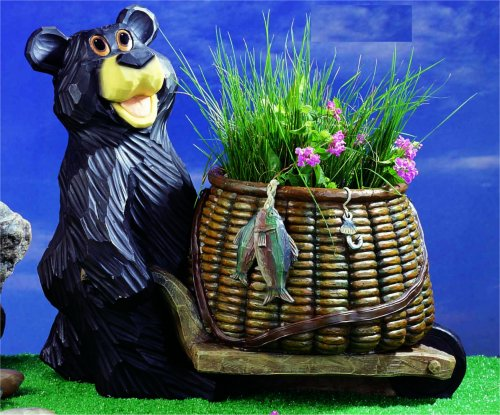 Fisherman Bear With Flower Pot Statue