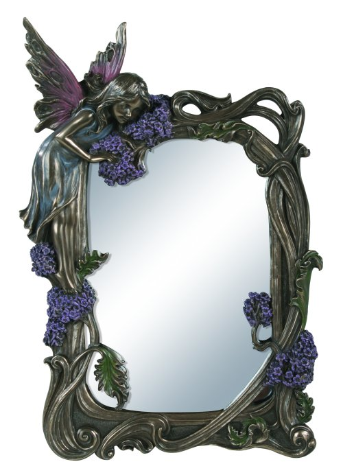 Fairy Sculptural Mirror in Bronze Patina