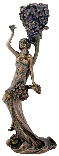 Blue Flower Lady Candle Holder Nouveau Figurine