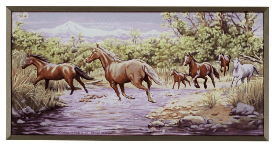 Wild Horses At The Crossing Stained Glass by Joseph Hautman