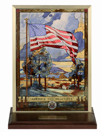 America The Beautiful By artist Woodson Stained Glass Sculpture