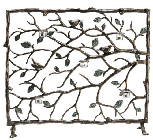 Bird & Branch Firescreen with Candleholders