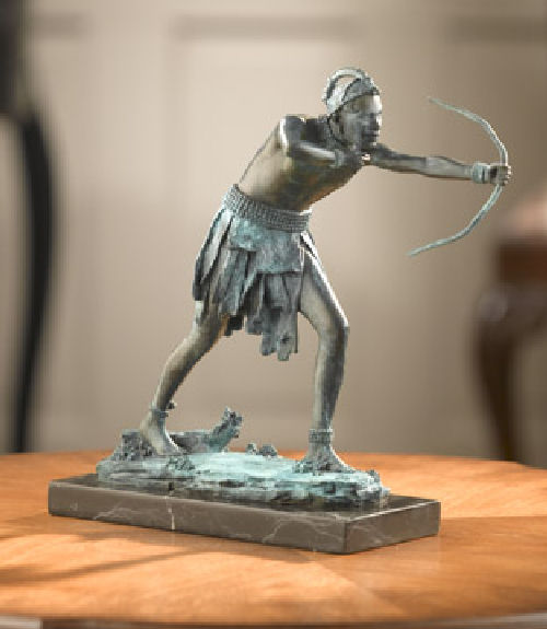 Indian With Bow Bronze Statue in the Hunt