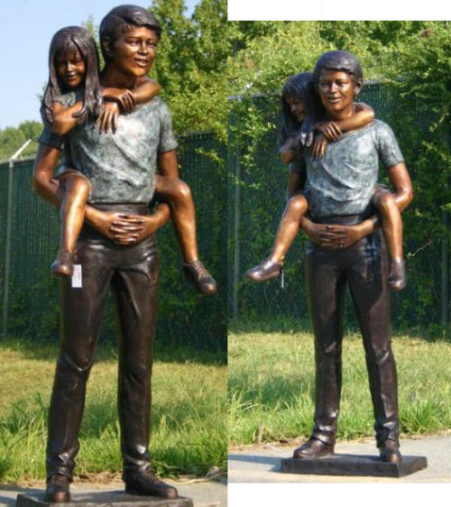 Boy And Girl Playing Piggyback Bronze Statue Brother Sister