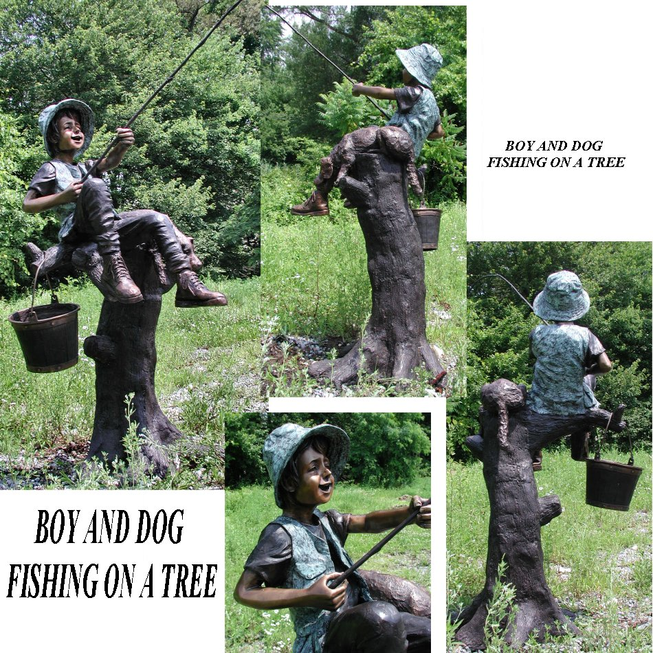 Boy And Dog Fishing On A Tree Bronze Sculpture Garden
