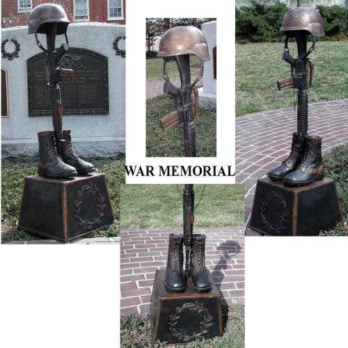 War Memorial Battle Cross Boots Gun Helmet Bronze Statue