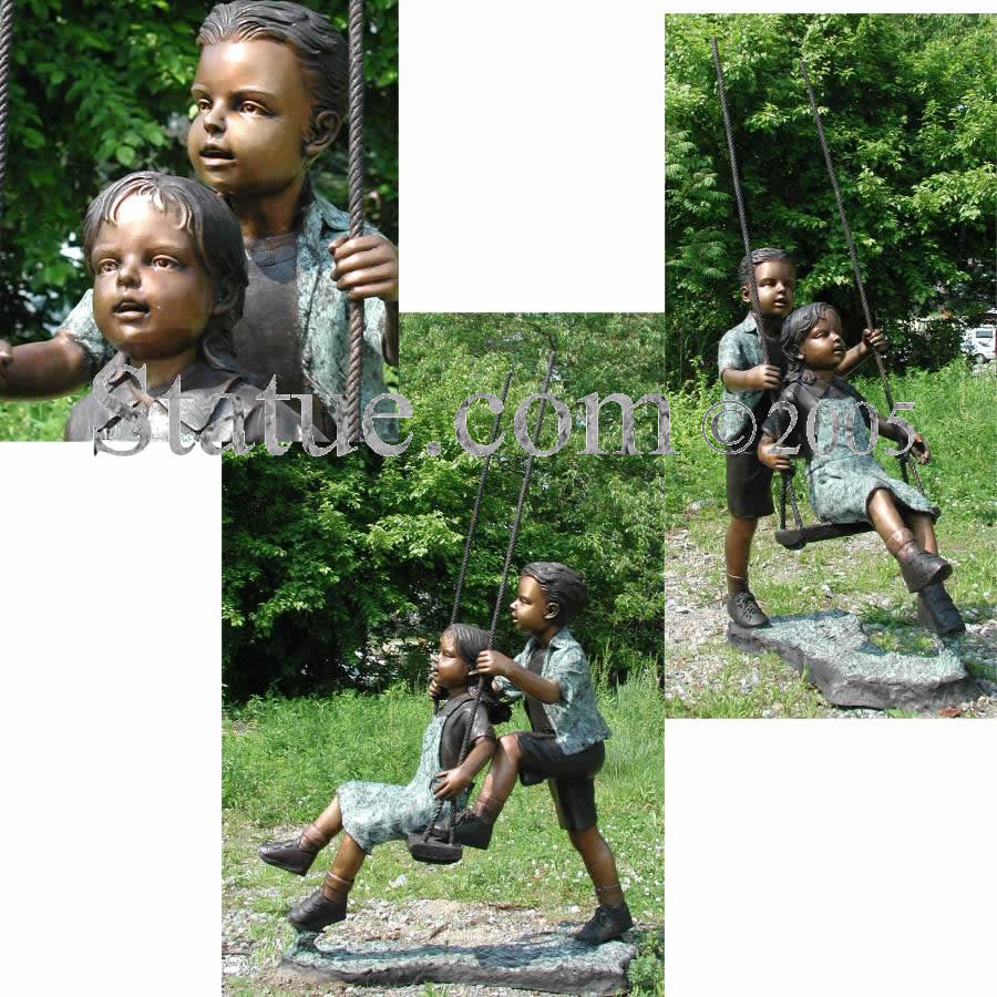 Boy And Girl On A Swing Bronze Sculpture Garden Display