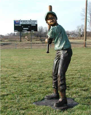 Boy Baseball Batter Bronze Statue Great for Parks