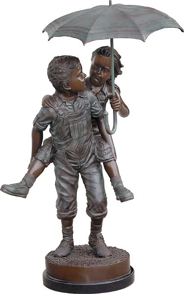 Boy & Girl Umbrella Water Feature Sculpture