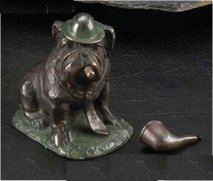 Brass Bull Dog With Cigar Or Pipe Statue
