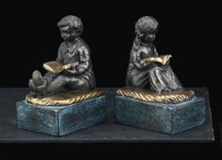 Reading Boy & Girl Bookends