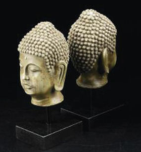 Buddha Head Bookend Set Sculptural Pair