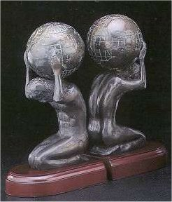 Atlas With Globe Bookends Statues Holding Earth