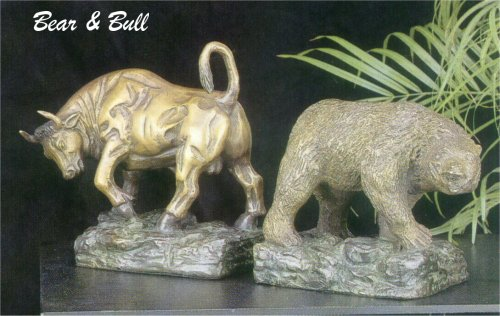 Bear & Bull Bookends Bronze sculpture Set