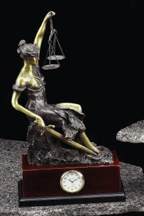 Blind Justice Seated Clock Sculpture Artwork Themis