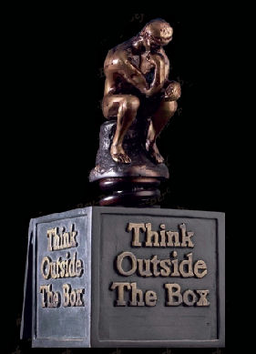 Think Outside The Box Statue Thinker Rodin Marketing