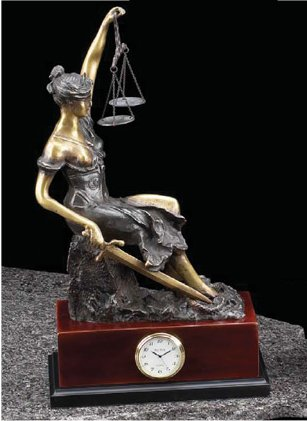 Blind Justice Bronze Sculptural Clock