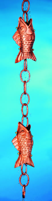 Fish Rain Chain Downspout Polished Copper
