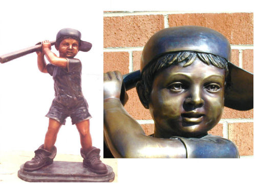 Baseball Player Boy With Big Shoes Bronze Statue