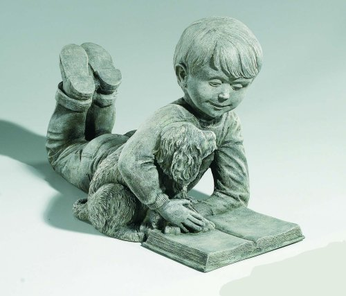 Sammy Boy With Puppy Garden Statue Reading Book