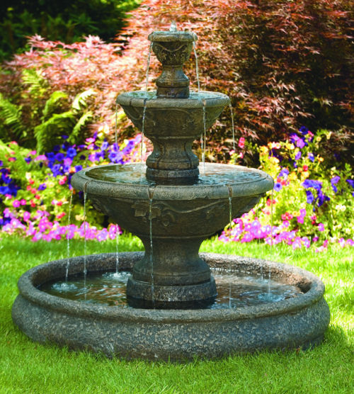 Three tier harvest pool outdoor fountain for Outdoor pool sculptures