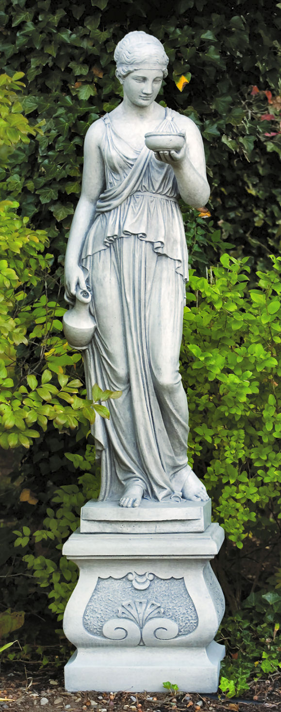 Hebe Statue Life Size With Fancy Square Pedestal 83 High
