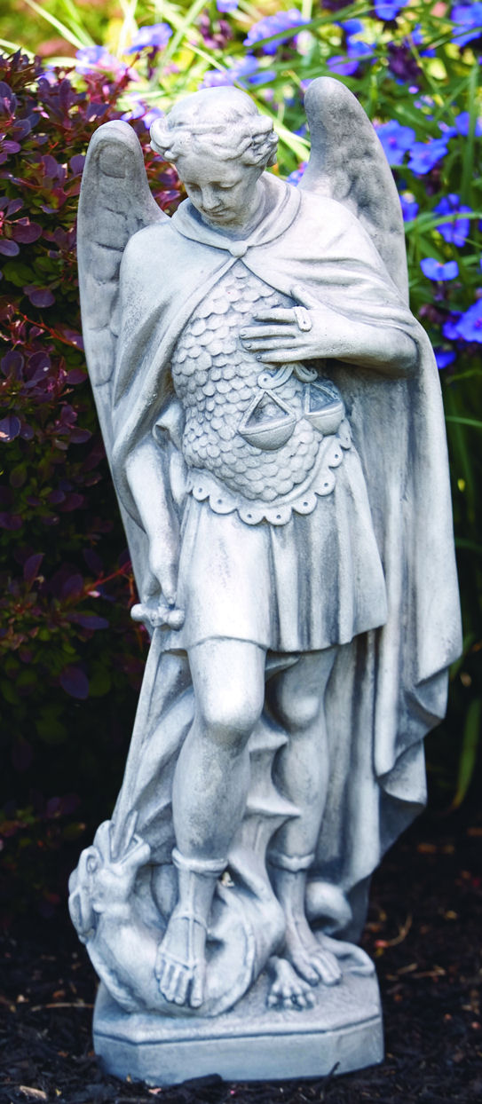 saint michael garden statue with scales of justice