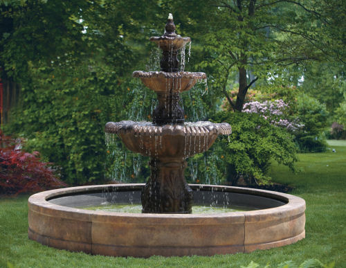 Concrete Water Fountain Pools : Calabria cement fountain with surround pool
