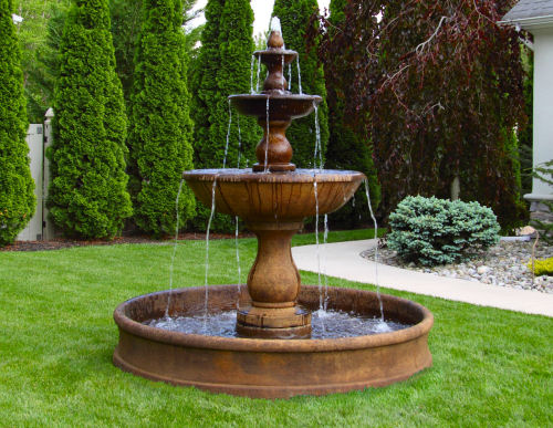 Concrete Water Fountain Pools : Boca three tier garden fountain with cement pool