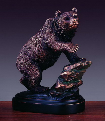 Bear On Rock Bronze Finished Sculpture Wall Street Bear Statue