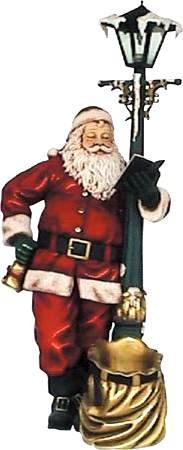 Santa Claus With Lamp Post Life Size Statue