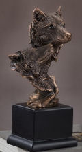 Double Wolf Heads Wildlife Bust Statue